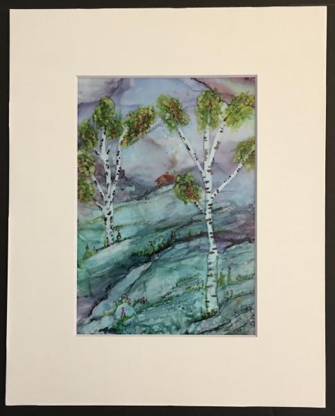 Alcohol Ink Birch Landscape Painting on Yupo Paper Unframed in 8″x10″ Matt and protected with plastic sleeve. Painting size 5″x7″