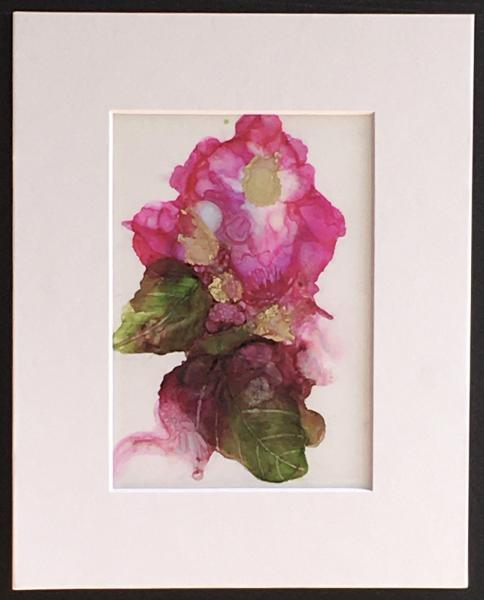 Alcohol Ink Rose Painting on Yupo Paper Unframed in 8″x10″ Matt and protected with plastic sleeve.