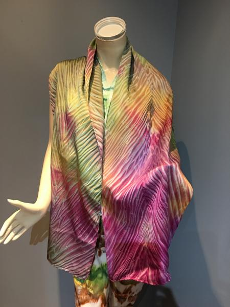 Hand painted Shibori style Charmeuse scarf picture