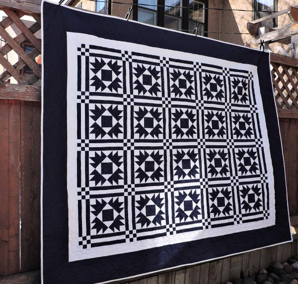 Navy Blue Ohio Star Quilt picture