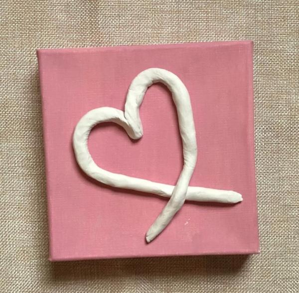 Clay Heart on Canvas