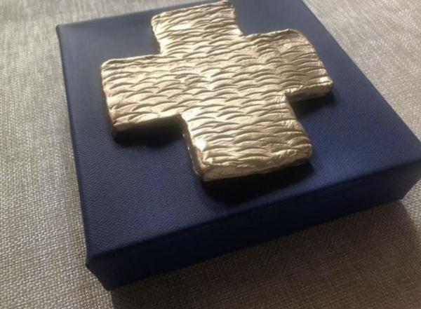 Gold Cross on Navy Canvas picture