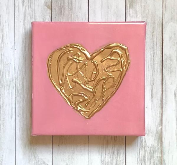Gold Heart on Pink Canvas