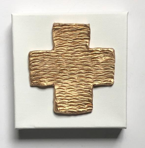 Gold Textured Cross on White Canvas