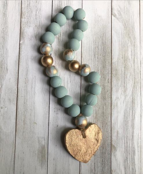 Small Blessing Beads - Duck Egg/Gold