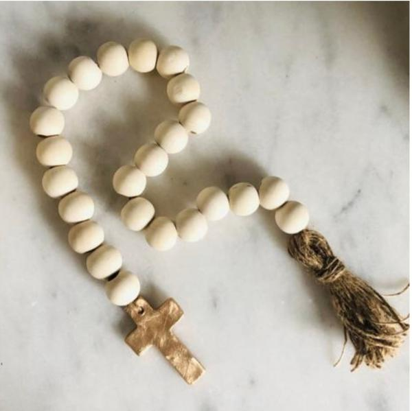 Blessing Beads w/ Tassel & Cross - Natural