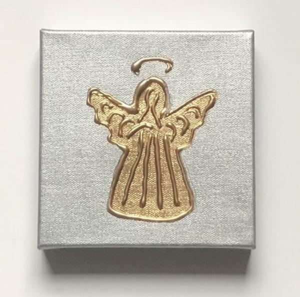 Gold Angel on Silver Canvas
