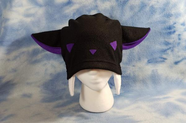 Purple Vampire Kitty Hat with Fangs