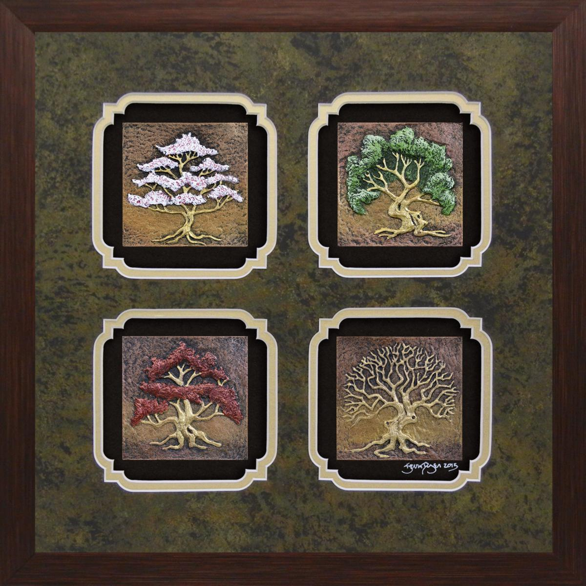 Four Seasons Hand Painted Cast Paper in Designer Frame