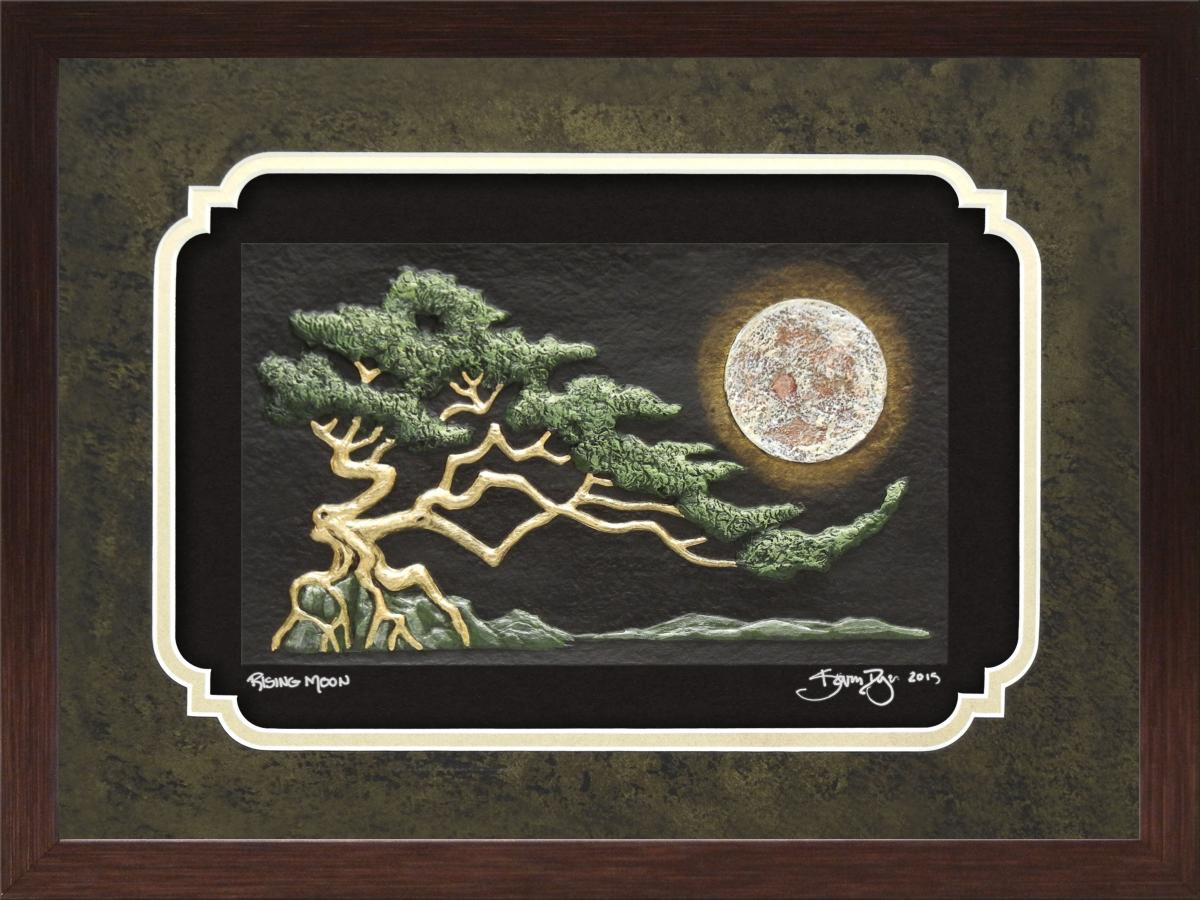 Rising Moon Framed hand painted cast paper