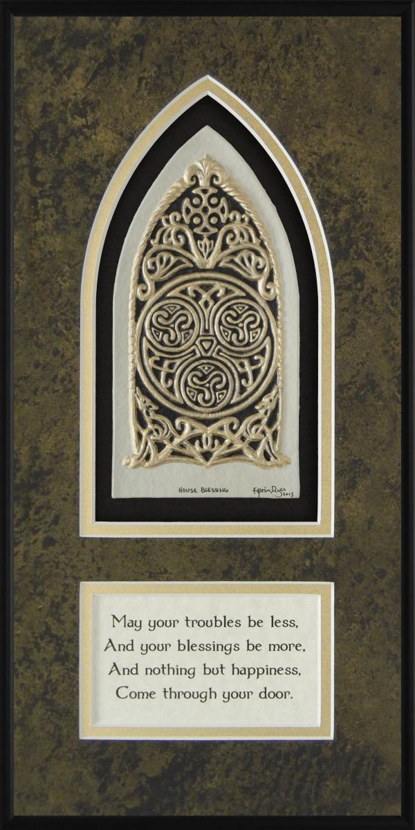 Celtic House Blessing Framed Hand Painted Paper Casting