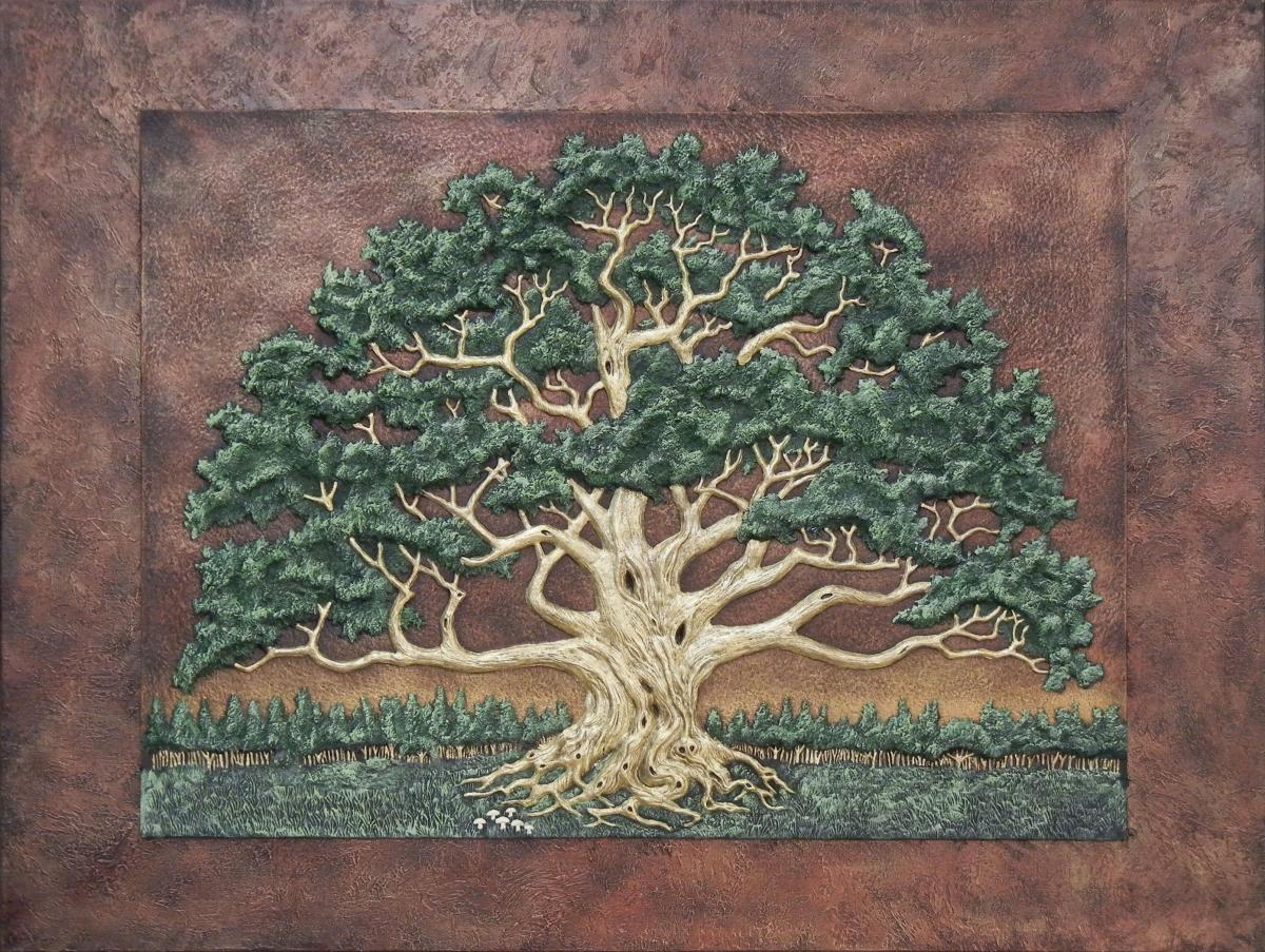 The Wisdom Tree- Hand Painted Cast Paper on canvas