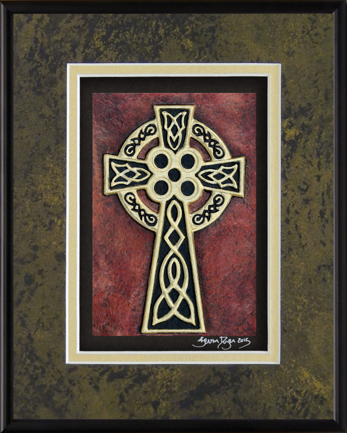 Celtic High Cross Framed Hand Painted Paper Casting