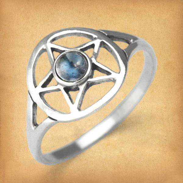 Silver Labradorite Pentacle Ring - RSS-5LB picture