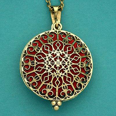 Rose Window Aromatherapy Locket - Bronze Tone - PBM-AT5-B
