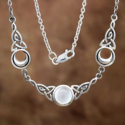 Silver Magical Moon Necklace - White Moonstone - NEC-306-W