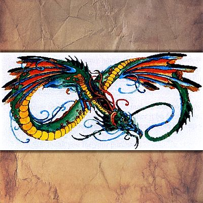 """Infinity Dragon"" Cross Stitch Pattern - SIW-009"