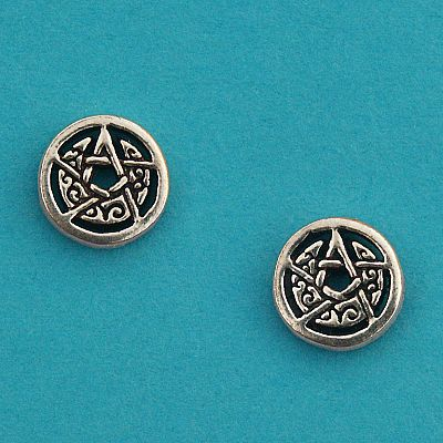 Silver Crescent Moon Pentacle Stud Earrings - ESS-424
