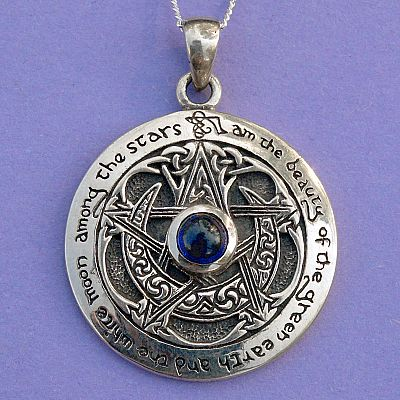 Silver Sapphire Moon Pentacle Pendant - PSS-2320