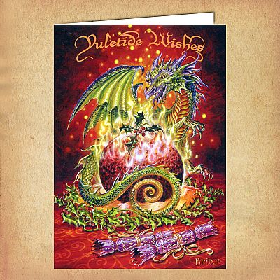 Flaming Dragon Pudding Yule Card - CRD-BY16 picture