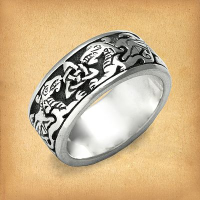 Silver Celtic Dragons Ring - RSS-601