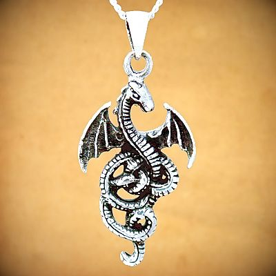 Silver Coiled Dragon Pendant - PSS-1920