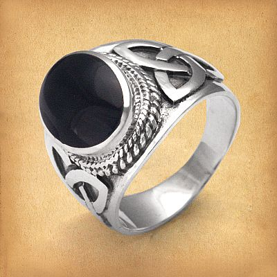 Silver Celtic Onyx Men's Ring - RSS-531