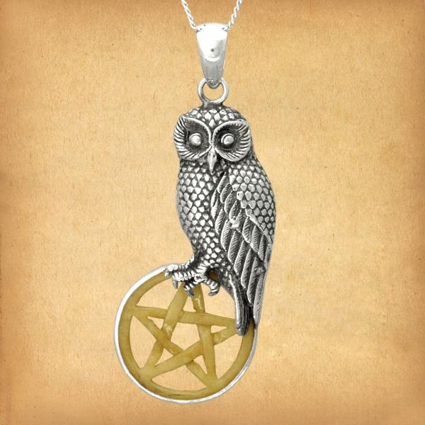 Silver Owl with Bone Pentacle Pendant - PSS-G110