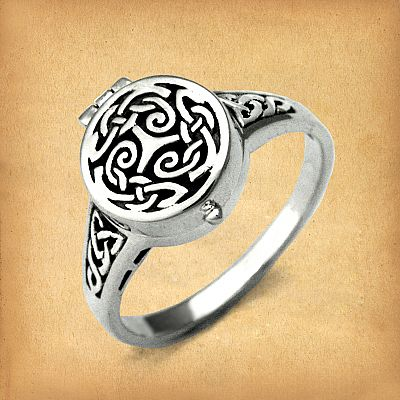 Silver Celtic Spirals and Knots Poison Ring - RSS-542