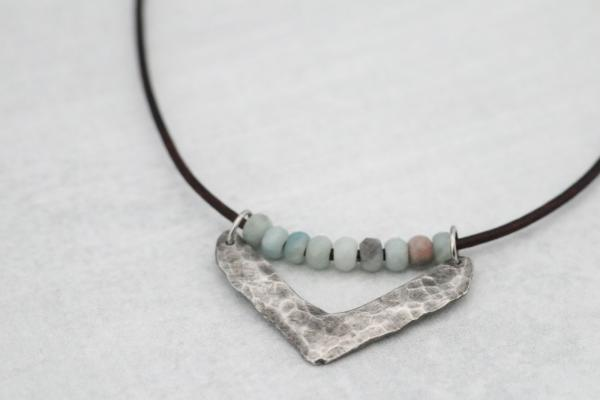 Hand Cast Pewter Chevron with Amazonite