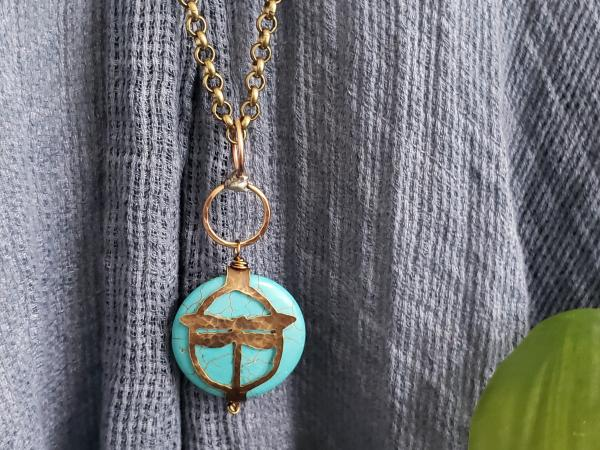 Hand Cut Bronze Dragonfly Stone Wrap, Howlite