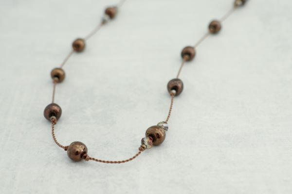 Hand Knotted Ceramic Bead & Crystal Necklace