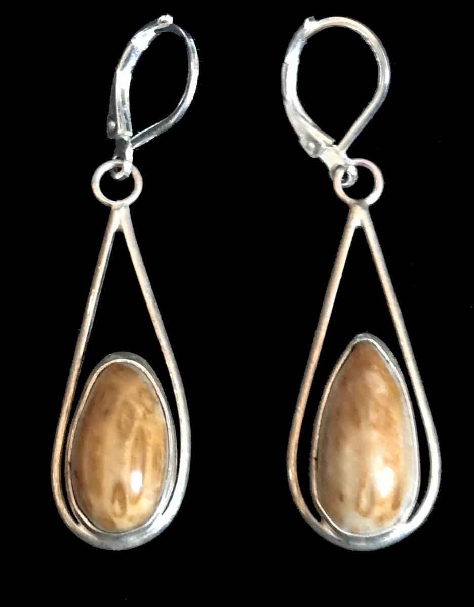 Petrified Palmwood Earrings #1