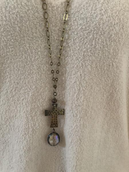 "36"" long cross necklace"