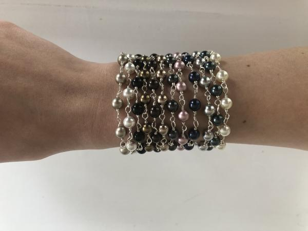 6mm Hand wrapped Swarovski pearl bracelet