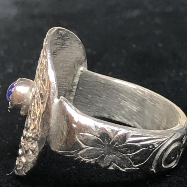 Lapis Lazuli Dimpled Silver Ring