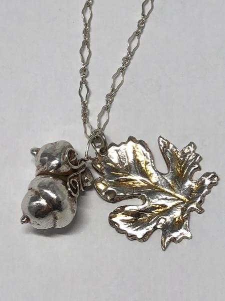 Gold-Highlighted Sterling Silver Leaf and Acorns Necklace