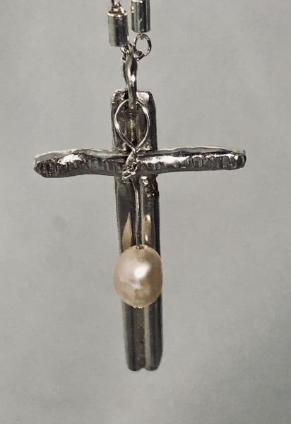 Sterling Cross with Pearl Necklace