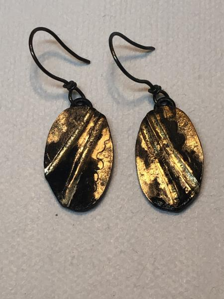 Gold and Blackened Steel Earrings