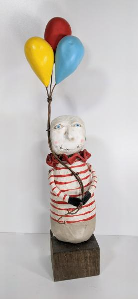 Red striped guy with Balloons picture