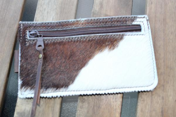 women's wallet double sided with hair on hide on one side