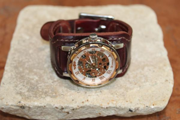 Leather cuff watch for men (burgundy color)