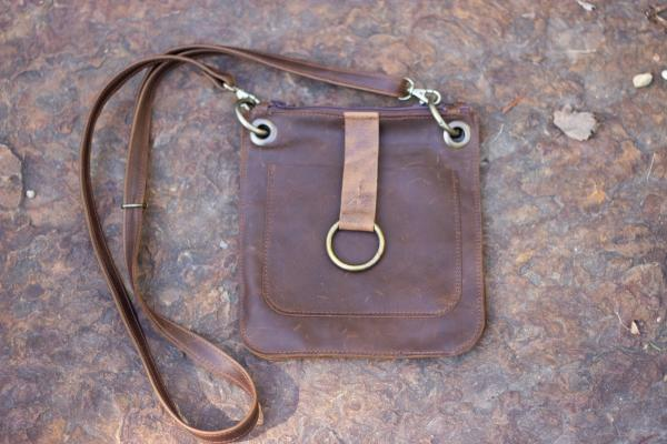 Double cell phone bag in leather