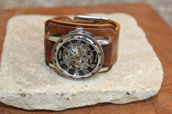 Men's cuff w/skeleton wrist watch tan color