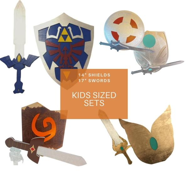 "Kid's Size Cosplay Sets 14"" Shield 17"" Sword"