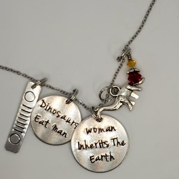 Dinosaurs eat man. Woman inherits the earth. Jurassic Park inspired Charm Necklace