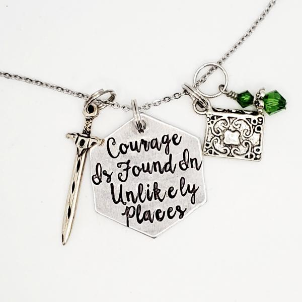 Courage is found in unlikely places - Tolkien Inspired charm necklace