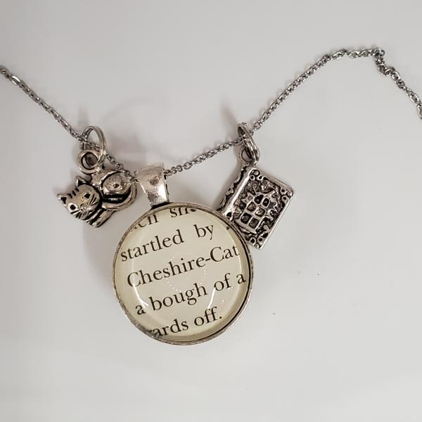 Cheshire Cat / You're Mad - Alice in Wonderland - Double sided book necklace