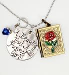 A Beauty but a Funny girl - Beauty and the Beast inspired - Charm Necklace