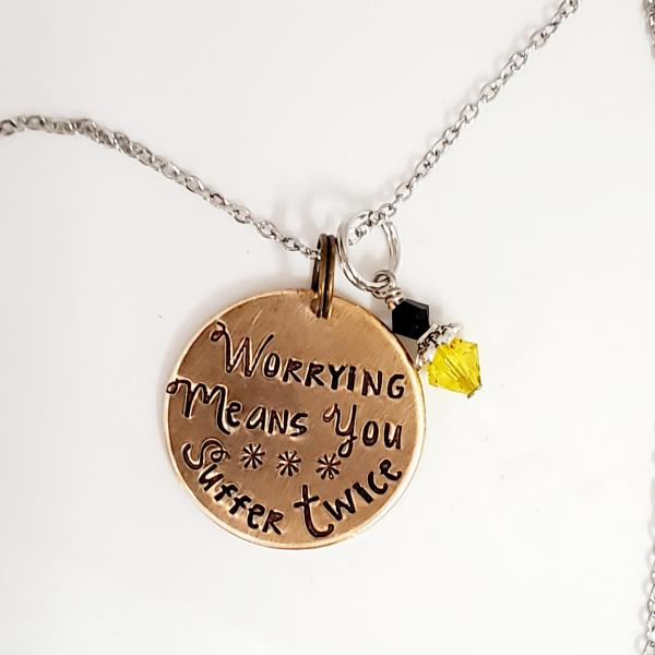 Worrying means you suffer twice - Harry Potter Inspired - single charm necklace
